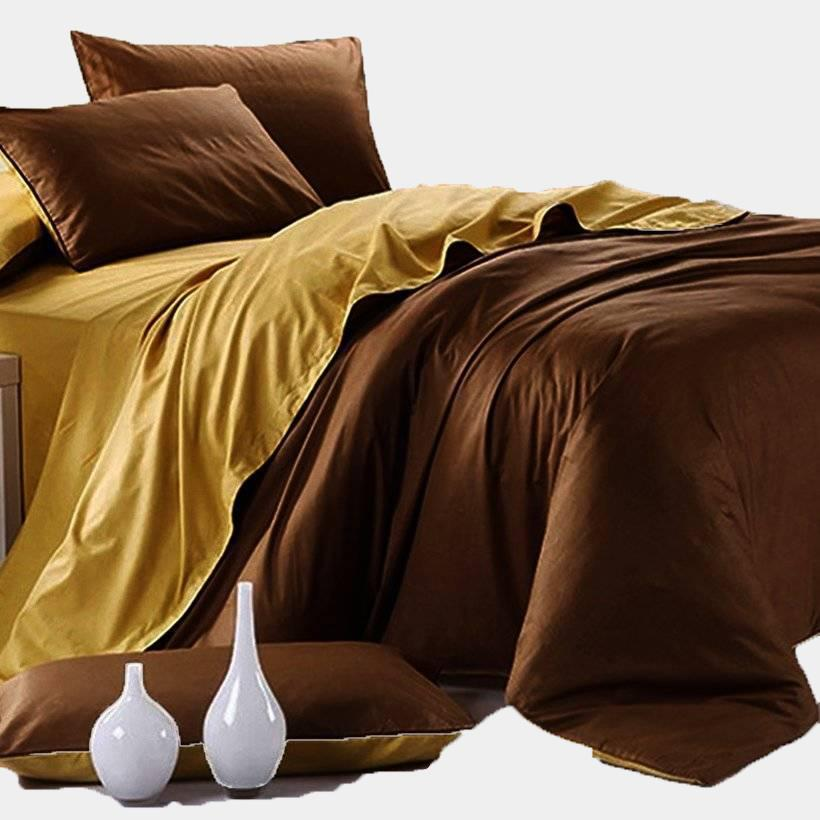 Bộ vỏ chăn ga gối Tencel phối màu vàng nâu 1.6 x 2 m